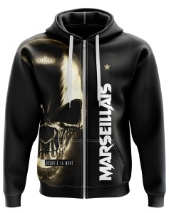 Zipped hoodie Marseillais jusqu'à la mort with a skull - Supporters Marseille