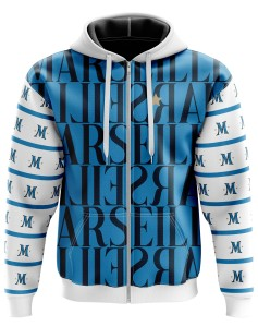 Zipped Hoodie Marseillais and M letter on the sleeves - Supporters Marseille
