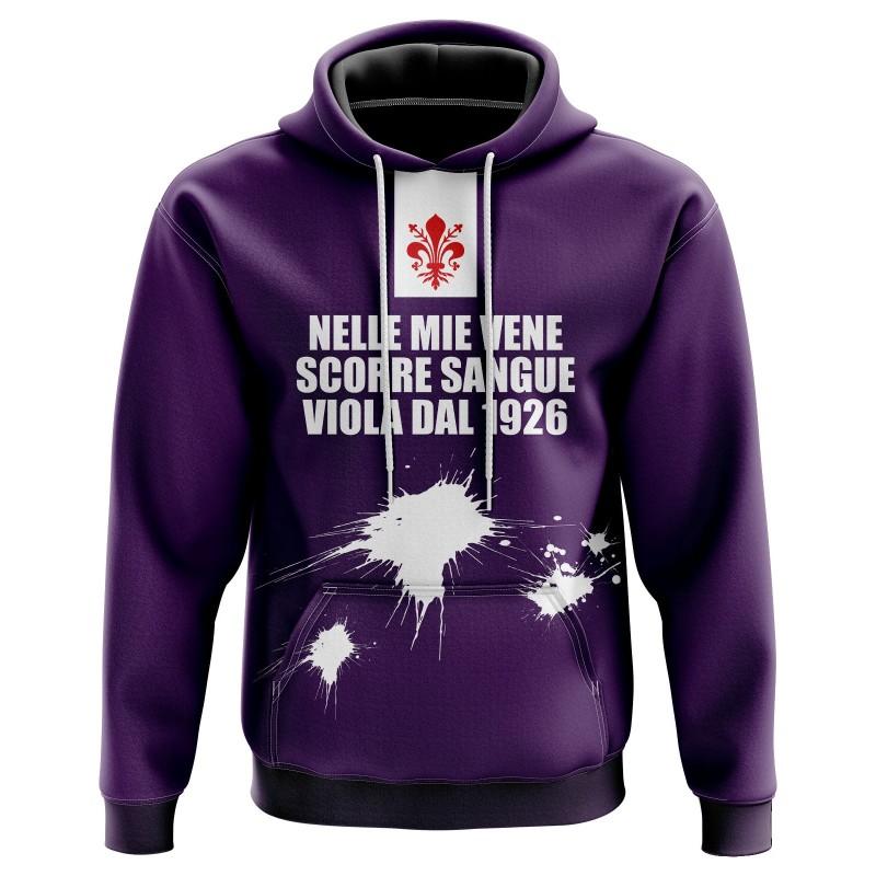 Felpa con cappuccio Nelle mie vene scorre sangue viola dal 1926 - Tifosi Fiorentina - Tribune FC